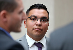 May 30, 2017 - St. Paul, MN, USA - United States - Jury selection began today for the first day of trial of officer Jeronimo Yanez in the fatal shooting of Philando Castile. Here, in a seeming change of legal strategy, officer Jeronimo Yanez appeared in public briefly outside the Ramsey County Courthouse while waiting for his ride Tuesday, May 30, 2017, in St. Paul, MN. ]......DAVID JOLES • david.joles@startribune.com ..............Jury selection begins at 9 a.m. May 30 for the first day of trial of officer Jeronimo Yanez in the fatal shooting of Philando Castile. (Credit Image: © David Joles/Minneapolis Star Tribune via ZUMA Wire)