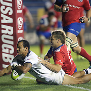 Lorenzo Thomas (13) of the United States scores a try during the 2016 Americas Rugby Championship match at Lockhart Stadium on Saturday, February 20, 2016 in Fort Lauderdale, Florida.  (Alex Menendez via AP)