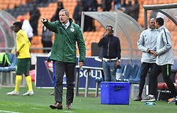 South Africa: Johannesburg: Bafana Bafana coach Stuart Baxter gestures during the Africa Cup Of Nations qualifiers against Seychelles at FNB stadium, Gauteng.<br />Picture: Itumeleng English/African News Agency (ANA)