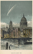 Donati's comet of 1858 viewed over St Paul's Cathedral, London. Named for Giovanni Donati (1826-1873), the Italian astronomer who first recorded its appearance. From 'Sun, Moon and Stars' by Agnes Giberne. (London, 1884). Chromolithograph.