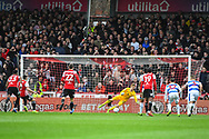 Brentford Forward Neal Maupay (9) scores a goal from the  penalty spot (1-0) during the EFL Sky Bet Championship match between Brentford and Queens Park Rangers at Griffin Park, London, England on 2 March 2019.