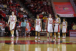 28 December 2009: Back from a time out - Nicolle Lewis, Shala Jackson, Emily Hanley, Hannah Spanich, and Alexis Jenkins. It was Kristi Cirone night, but The Blue Demons of DePaul University cling to the lead beating the Redbirds of Illinois State University by a score of 63-61 on Doug Collins Court in Redbird Arena in Normal Illinois.