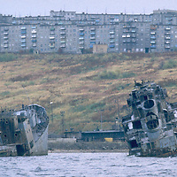 Military ship wrecks at entrance to harbour, Murmansk, USSR Accession #: 0.90.259.002.20