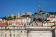 Figueira square in Lisbon. On the top of the hill Saint George's Castle can be spotted