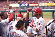 22 June 2011             Philadelphia Phillies shortstop Jimmy Rollins (11) is congratulated by teammates in the dugout after hitting a solo home run in the fourth inning.  The St. Louis Cardinals hosted the Philadelphia Phillies in the second game of a three-game series on Wednesday June 22, 2011 at Busch Stadium in downtown St. Louis.