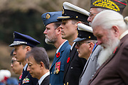 Dignitaries,military personnel and veterans lined up during the Remembrance Sunday ceremony at the Hodogaya, Commonwealth War Graves Cemetery in Hodogaya, Yokohama, Kanagawa, Japan. Sunday November 11th 2018. The Hodagaya Cemetery holds the remains of more than 1500 servicemen and women, from the Commonwealth but also from Holland and the United States, who died as prisoners of war or during the Allied occupation of Japan. Each year officials from the British and Commonwealth embassies, the British Legion and the British Chamber of Commerce honour the dead at a ceremony in this beautiful cemetery. The year 2018 marks the centenary of the end of the First World War in 1918.