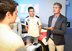 David Coulthard (right) during the DTM press activity and reception at the Hospital Club, London. PRESS ASSOCIATION Photo. Picture date: Wednesday July 18. 2017. Former F1 driver and Channel 4 commentator David Coulthard is celebrating the return of the prestigious DTM race series to the UK after a 5-year absence. Racing for the first time on the full Grand Prix circuit, the DTM championship will see touring cars from Audi, BMW and Mercedes-AMG pitted against one another on the twists and turns of the iconic Brands Hatch track on 11-12 August. Photo credit should read: Matt Alexander/PA Wire.