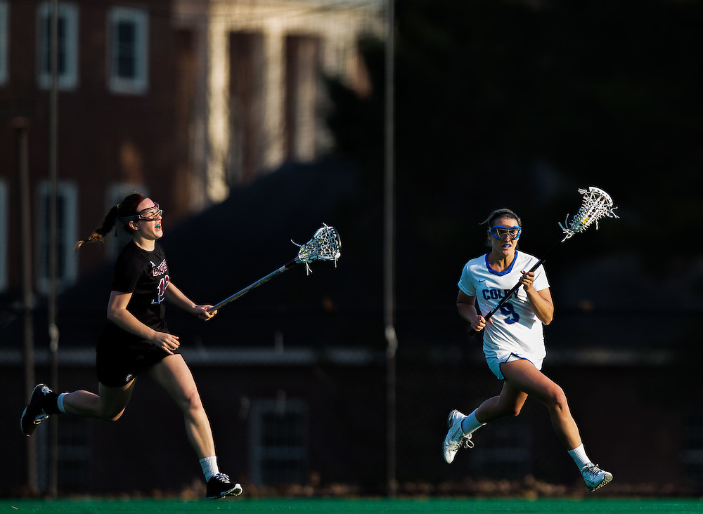 Jackie Brokaw, of Colby College, in a NCAA Division III lacrosse game against Bates College on April 22, 2015 in Waterville, ME. (Dustin Satloff/Colby College Athletics)