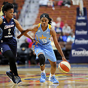 UNCASVILLE, CONNECTICUT- MAY 05:  Niya Johnson #2, (left), of the Atlanta Dream and Jordan Jones #13 of the Chicago Sky in action during the Atlanta Dream Vs Chicago Sky preseason WNBA game at Mohegan Sun Arena on May 05, 2016 in Uncasville. (Photo by Tim Clayton/Corbis via Getty Images)