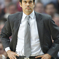 14 March 2012: Miami Heat head coach Erik Spoelstra is seen during the Chicago Bulls 106-102 victory over the Miami Heat at the United Center, Chicago, Illinois, USA.