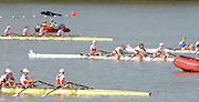 Chungju, South Korea.  Final Women's Quadruple Scull. 2013 FISA World Rowing Championships, Tangeum Lake International Regatta Course.16:28:08  Saturday  31/08/2013 [Mandatory Credit. Peter Spurrier/Intersport Images]<br /> <br /> 1GER W4X, Annekatrin THIELE (b) , Carina BAER (2) , Julia RICHTER (3) , Britta OPPELT (s)<br /> <br /> 2CAN W4X,Emily CAMERON (b) , Katharine GOODFELLOW (2) , Carling ZEEMAN (3) , Antje VON SEYDLITZ-KURZBACH (s)<br /> <br /> 3POLW4X Sylwia LEWANDOWSKA (b) , Joanna LESZCZYNSKA (2) , Magdalena FULARCZYK (3) , Natalia MADAJ <br /> <br /> 4NEDW4X Lisa SCHEENAARD (b) , Chantal ACHTERBERG (2) , Sophie SOUWER (3) , Nicole BEUKERS <br /> <br /> 5USAW4X Kara KOHLER (b) , Zsuzsanna FRANCIA (2) , Esther LOFGREN (3) , Megan KALMOE<br /> <br /> 6ITA W4X. Sara MAGNAGHI (b) , Giada COLOMBO (2) , Laura SCHIAVONE (3) , Gaia PALMA.