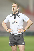 Rugby Union - 2020 / 2021 European Rugby Heineken Champions Cup - Round of 16 - Gloucester vs La Rochelle - Kingsholm<br /> <br /> Referee Andrew Brace (Ireland) reviews a high tackle.<br /> <br /> COLORSPORT/ASHLEY WESTERN
