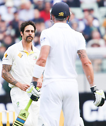 © Licensed to London News Pictures. 27/12/2013. Mitchell Johnson looks at Kevin Pietersen  during Day 2 of the Ashes Boxing Day Test Match between Australia Vs England at the MCG on 27 December, 2013 in Melbourne, Australia. Photo credit : Asanka Brendon Ratnayake/LNP