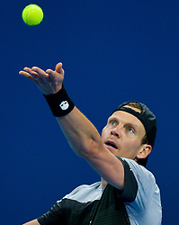 Tomas Berdych of Czech Republic serves to  Roberto Bautista Agut of Spain during their Final of ATP Qatar Open Tennis match at the Khalif?a International Tennis Complex in Doha, capital of Qatar, on January 05, 2019. Roberto Bautista Agut claimed the title by defeating Tomas Berdych with 2-1. (Credit Image: © Yangyuanyong/Xinhua via ZUMA Wire)