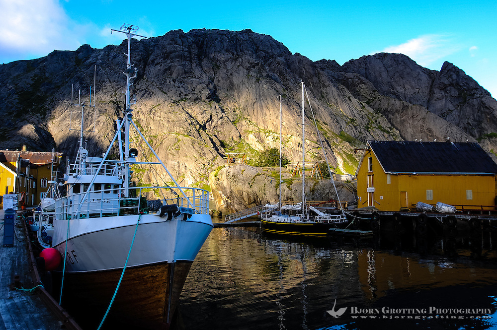 Norway, Lofoten. Nusfjord is an idyllic, small harbor with traditional rorbu which can be rented by tourists.