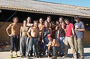 The team of harvest workers. Chateau Lapeyronie, Cotes de Castillon, Bordeaux, France
