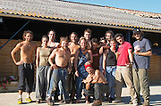The team of harvest workers. Chateau Lapeyronie, Cotes de Castillon, Bordeaux, France