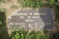 31 August 2017:   Veterans graves in Park Hill Cemetery in eastern McLean County.<br /> <br /> Charles W Rousey  Private First Class US Army  Korea  Apr 20 1936  Oct 1 1991