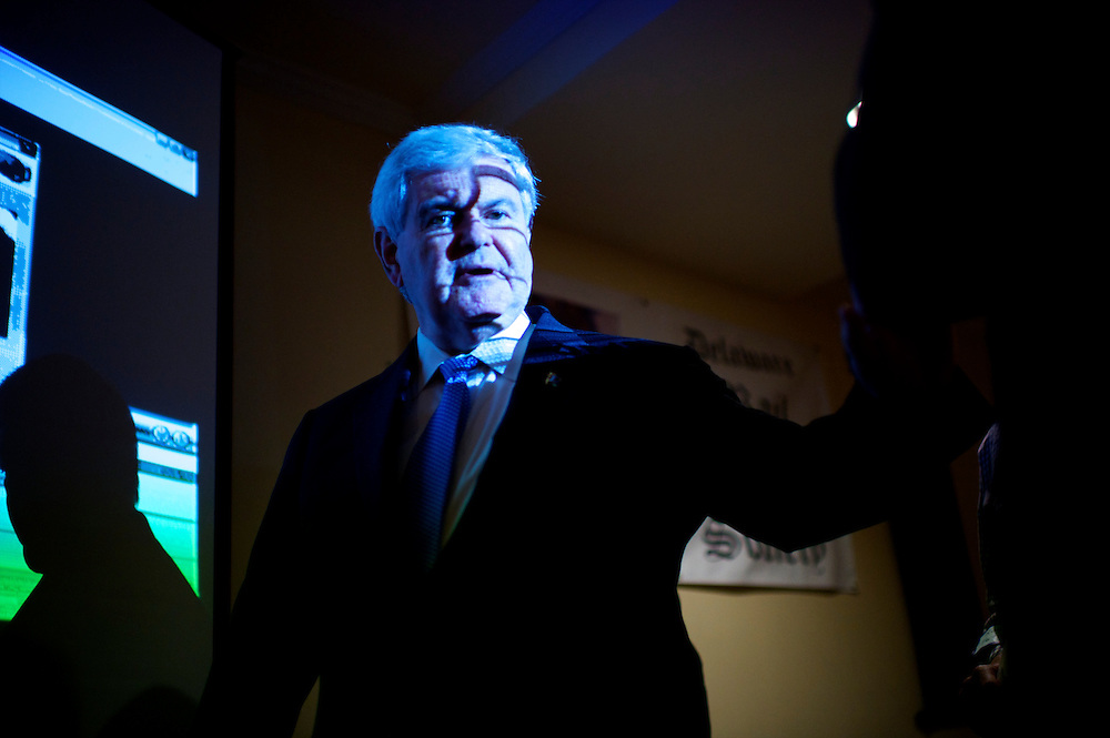 Former Speaker of the House Newt Gingrich, a candidate for the Republican presidential nomination, departs after delivering a speech at the Delaware Rail Splitters meeting at Timothy's Restaurant in Wilmington, DE on April 18, 2012.