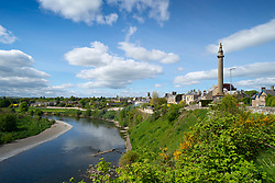 View of River Tweed and town of Coldstream in Scottish Borders, Scotland, UK
