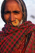Portrait of a tribeswoman near Jaislamer wearing traditional nose ring,Rajasthan