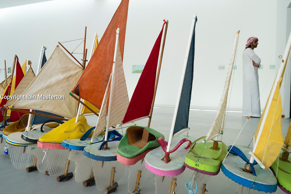 Nautical sculpture by Francis Alys on opening day of the 11th Sharjah Biennial Art festival in United Arab Emirates
