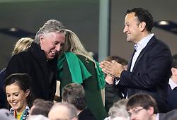 Republic of Ireland Taoiseach Leo Varadkar (right) and FAI Chief Executive John Delaney during the 2018 FIFA World Cup qualifying play-off second leg match at the Aviva Stadium, Dublin.
