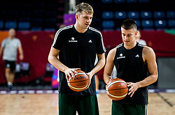 Luka Doncic of Slovenia and Matic Rebec of Slovenia at practice session of Team Slovenia 1 day before final match against Serbia at Day 17 of FIBA EuroBasket 2017 at Sinan Erdem Dome in Istanbul, Turkey on September 16, 2017. Photo by Vid Ponikvar / Sportida
