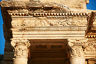 Close up of the ancient Library of Celsus , a Roman building ruins in Ephesus, Anatolia, Turkey .<br /> <br /> If you prefer to buy from our ALAMY PHOTO LIBRARY  Collection visit : https://www.alamy.com/portfolio/paul-williams-funkystock/ephesus-celsus-library-turkey.html<br /> <br /> Visit our TURKEY PHOTO COLLECTIONS for more photos to download or buy as wall art prints https://funkystock.photoshelter.com/gallery-collection/3f-Pictures-of-Turkey-Turkey-Photos-Images-Fotos/C0000U.hJWkZxAbg