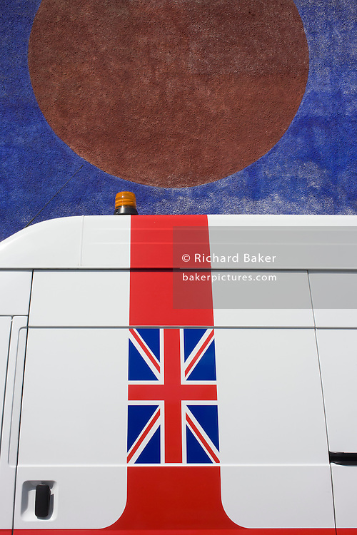 Union jack flag on the side of a white van in south London.