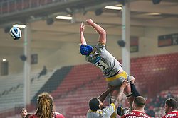 A line out ball evades the grasp of Tim Cardall of Wasps - Mandatory by-line: Nick Browning/JMP - 28/11/2020 - RUGBY - Kingsholm - Gloucester, England - Gloucester Rugby v Wasps - Gallagher Premiership Rugby