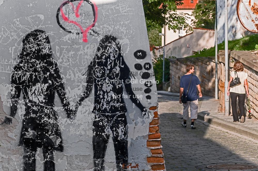 République Tchèque, Prague, Hradcany, ruelle menant au monastère de Strahov // Czech Republic, Prague, Hradcany, Mala Strana, lane to from Strahov monastery