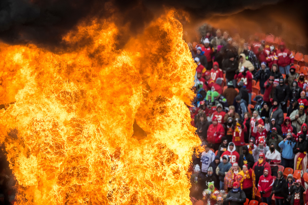 A flame geyser shot into the air during player introductions prior to NFL action between the Kansas City Chiefs and the Seattle Seahawks on November 14, 2014 at Arrowhead Stadium in Kansas City, Mo.