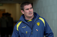 Burton Albion Manager Nigel Clough as he walks out of the tunnel onto the pitch prior to kick off during the The FA Cup 1st round match between Scunthorpe United and Burton Albion at Glanford Park, Scunthorpe, England on 10 November 2018.