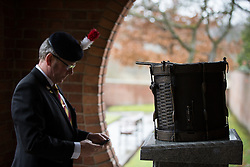© Licensed to London News Pictures . 29/03/2015 . Manchester , UK . A bronze drum , in memory of Fusilier Lee Rigby , is unveiled in Middleton Memorial Gardens , North Manchester at a memorial service in his honour . Rigby was murdered in a terrorist attack in Woolwich in May 2013 . Photo credit : Joel Goodman/LNP