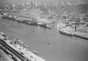 ackroyd-02349-8. Terminal 1 Pier A, Pier B, Lumber dock. July 25, 1950
