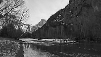 Half Dome and the Merced River. Yosemite Valley in the Winter. Yosemite National Park. Image taken with a Nikon D3x camera and 14-24 mm f/2.8 lens.