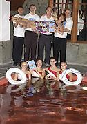 Kathy Lette, Kathy Lette book launch, Savoy, swimming pool 12 November 2003. © Copyright Photograph by Dafydd Jones 66 Stockwell Park Rd. London SW9 0DA Tel 020 7733 0108 www.dafjones.com