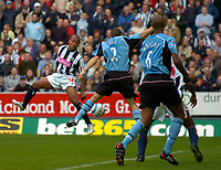 Photo. Glyn Thomas. Digitalsport<br /> West Bromwich Albion v Fulham. <br /> Barclays Premiership. 18/09/2004.<br /> Fulham's Moritz Voltz (C) handballs from debutant Robert Earnshaw (L) header to concede a penalty which Earnshaw failed to convert.