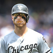NEW YORK, NEW YORK - June 01:  Second baseman  Brett Lawrie #15 of the Chicago White Sox preparing to bat  wearing his mouth guard which makes it look like he has vampire fangs. The look has earned him the nickname 'The Canadian Vampire'. Chicago White Sox  Vs New York Mets regular season MLBgame at Citi Field on June 01, 2016 in New York City. (Photo by Tim Clayton/Corbis via Getty Images)