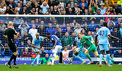 Everton's Romelu Lukaku scores past Joe Hart but the goal is disallowed - Mandatory byline: Matt McNulty/JMP - 07966386802 - 23/08/2015 - FOOTBALL - Goodison Park -Everton,England - Everton v Manchester City - Barclays Premier League