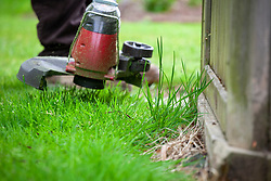 Strimming long grass around the base of a summerhouse