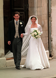 Lady Sarah Armstrong Jones, daughter of Princess Margaret, and her new husband, actor Daniel Chatto, leaving St Stephen Walbrook Church in the City of London after their wedding ceremony.