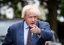 © Licensed to London News Pictures. 17/09/2018. Thame, UK. BORIS JOHNSON is seen gesturing while leaving his Oxfordshire home on September 17, 2018. The former Foreign Secretary has continued his criticism of British Prime Minister Theresa May's Brexit plans. Photo credit: Ben Cawthra/LNP
