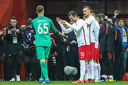 November 10, 2017 - Warsaw, Poland - Artur Boruc (POL), Grzegorz Krychowiak (POL)  during the international friendly match between Poland and Uruguay at National Stadium on November 10, 2017 in Warsaw, Poland. (Credit Image: © Foto Olimpik/NurPhoto via ZUMA Press)