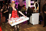 Brooklyn, NY - February 18, 2015: 'Cigarette girls' passed candies from client Mars at the party celebrating Mediacom's winning the title, Agency of the Year. <br /> <br /> CREDIT: Clay Williams for Mediacom.<br /> <br /> © Clay Williams / claywilliamsphoto.com