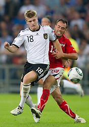 02.09.2011, Veltins Arena, Gelsenkrichen, GER, UEFA EURO 2012 Qualifikation, Deutschland (GER) vs Oesterreich (AUT), im Bild Toni Kroos (GER, Bayern Muenchen) - Ekrem Dag (#13 AUT, Besiktas) // during the UEFA Euro 2012 qualifying round Germany vs Austria  at Veltins Arena, Gelsenkirchen 2011-09-02 EXPA Pictures © 2011, PhotoCredit: EXPA/ nph/  Kurth       ****** out of GER / CRO  / BEL ******