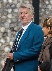 © Licensed to London News Pictures. 07/10/2014London, UK. Ed Stewart leaves the funeral of singer Lynsey de Paul in Hendon, North London Photo credit : Simon Jacobs/LNP