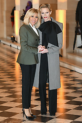 French President's wife Brigitte Macron welcomes Princess Charlene of Monaco as they take part in a spousal event at the Chateau de Versailles in Versailles, near Paris, on November 11, 2018 as part of commemorations marking the 100th anniversary of the 11 November 1918 armistice, ending World War I. Photo By Laurent Zabulon/ABACAPRESS.COM