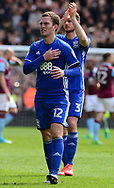 Craig Gardner of Birmingham claps off the fans.  EFL Skybet championship match, Aston Villa v Birmingham city at Villa Park in Birmingham, The Midlands on Sunday 23rd April 2017.<br /> pic by Bradley Collyer, Andrew Orchard sports photography.